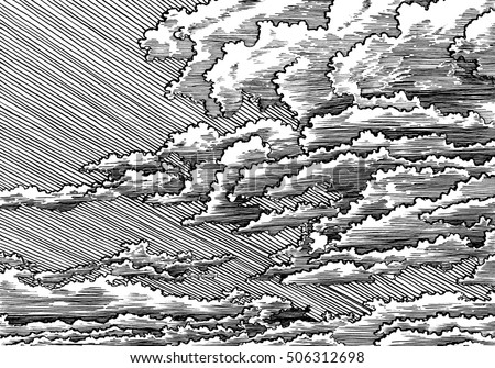 Line art clouded sky black and white dashed style sketch line