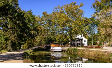 Potomac Maryland, USA - October 19: The Great Falls Tavern Visitor Center at the C&O Canal National Historical Park in Potomac, Maryland, on October 19, 2015.