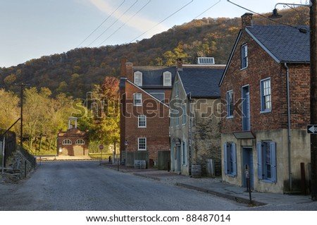 Potomac Street in Harpers Ferry, West Virginia - stock photo