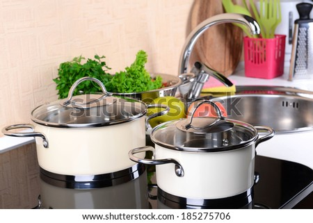 Pots on stove in kitchen