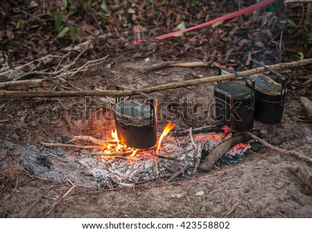Pots used for cooking out for Camp in trekking.  - stock photo