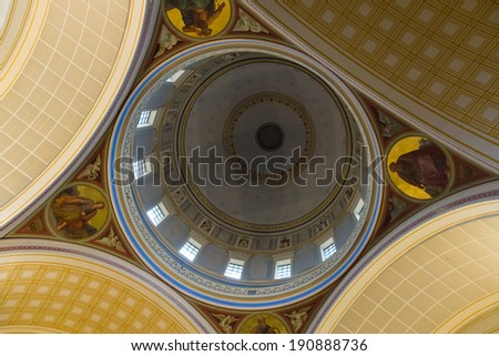 POTSDAM, GERMANY - DECEMBER 10, 2013: Interior of the Church of St. Nicholas. Built in 1850, destroyed in 1945, rebuilt in 1983