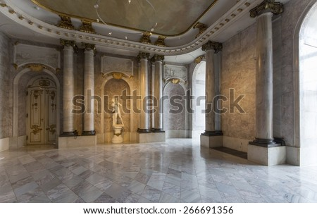 POTSDAM, GERMANY - DECEMBER 26, 2014: Interior of the New palace, situated on the western side of the Sanssouci royal park in Potsdam. It is considered to be the last great Prussian baroque palace.