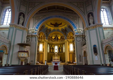 POTSDAM, GERMANY - DECEMBER 10, 2013: Interior of the Roman Catholic Church of St. Peter and St. Paul. Built in 1870, renovated in 1950.