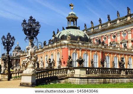 POTSDAM, GERMANY - JULY 27: Sanssouci Palace on  July 27, 2012 in Potsdam, Germany.  In 1763 San Sushi was laid new Palace. Luxurious three-story building became the summer Royal residence; - stock photo