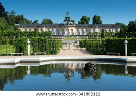 POTSDAM, GERMANY - JUNE 05, 2015: Sanssouci palace and terraced vineyard  in Potsdam, Germany