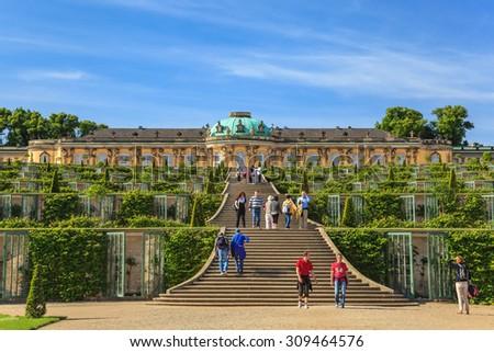 POTSDAM, GERMANY - JUNE 3 : Tourist at the famous Sanssouci Palace on June 3, 2013 at  Potsdam, Germany. - stock photo