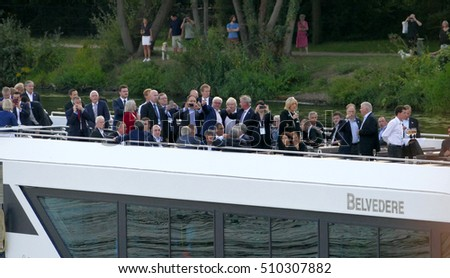 POTSDAM, GERMANY. SEPTEMBER 1ST, 2016: Ministers of Foreign Affairs at boat during the Informal OSCE Foreign Minister's Meeting held in Potsdam, Germany