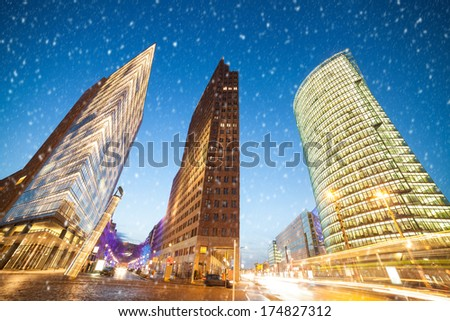 potsdamer platz an snowflakes in berlin - stock photo