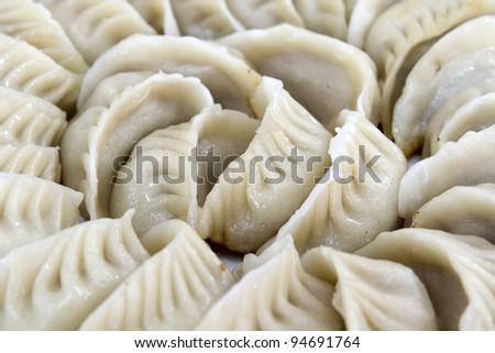 Potstickers Chinese Pork Dumplings Pan Fried Macro Closeup - stock photo