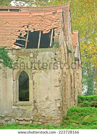 POTTENDORF, AUSTRIA - 15  October 2014: Roof of the chapel of the castle in Pottendorf, which was abandoned after World War II. The building is currently being renovated. - stock photo