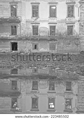 POTTENDORF, AUSTRIA - 14  October 2014: The castle in Pottendorf was abandoned after World War II. The municipality bought the castle and its park in 2005 and made it accessible to the public in 2009. - stock photo