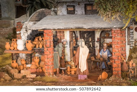 Potter store in a christmas creche