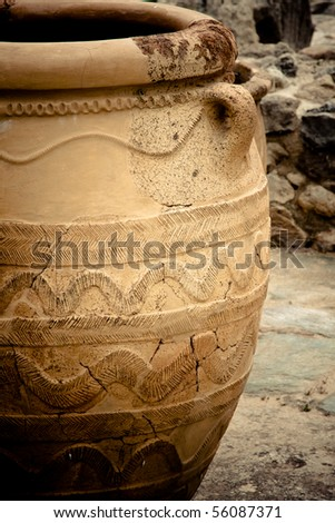 Pottery at Knossos Archeological Site in Crete, Greece - stock photo