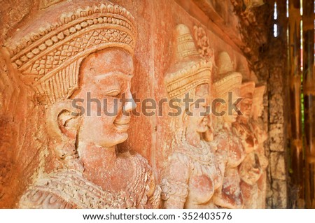 Pottery is a sculptured female dancers Khmer art. - stock photo
