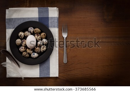poultry eggs flat lay still life rustic with food stylish raw ingredient poultry healthy cholesterol protein vitamin natural rustic low key - stock photo