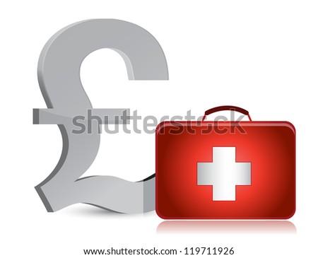 pound and medical kit illustration design over white - stock photo