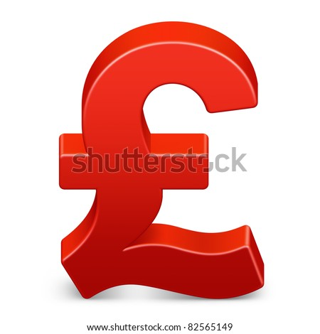 Pound currency icon in red on isolated white background. 3D render image and part of icon series.