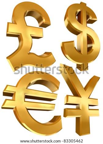 pound dollar euro and yen golden symbols isolated on white background - stock photo