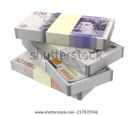 Pound, Euro and Dollar money isolated on white background. Computer generated 3D photo rendering - stock photo
