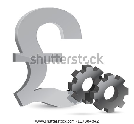pound gears illustration design over white background - stock photo