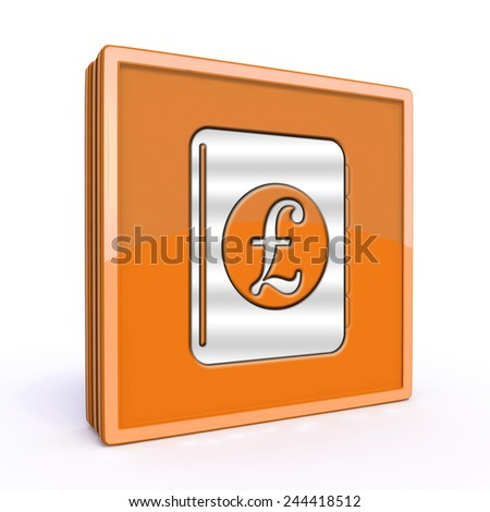 pound money book square icon on white background