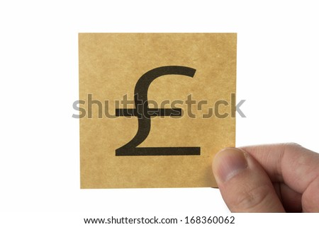 Pound money, brown stick note isolated on white background