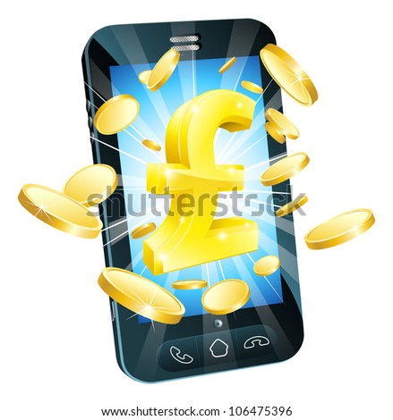 Pound money phone concept illustration of mobile cell phone with gold Pound sign and coins - stock photo