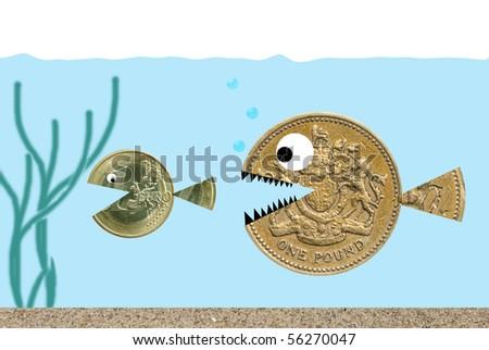 Pound pursuing Euro - stock photo