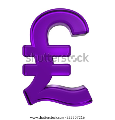 Pound sign from purple glass alphabet set, isolated on white. 3D illustration.