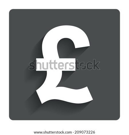 Pound sign icon. GBP currency symbol. Money label. Gray flat button with shadow. Modern UI website navigation.