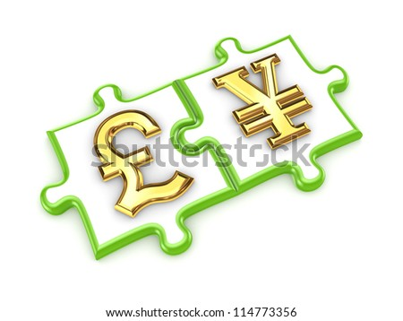 Pound sterling and yen symbols.Isolated on white background.3d rendered.