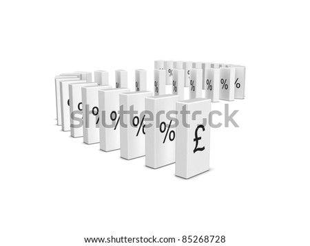 Pound Sterling currency crash. Domino effect. Isolated on the white background. - stock photo