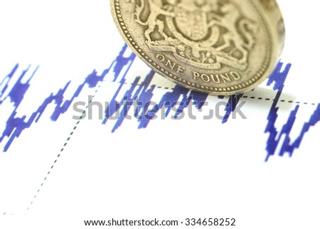 Pound sterling on the blue graph - stock photo