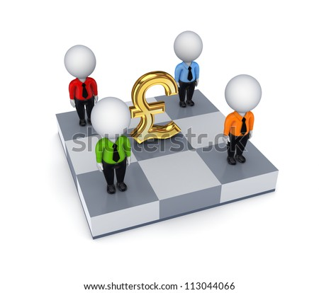 Pound sterling sign and 3d small people on a chessboard.Isolated on white background.3d rendered.