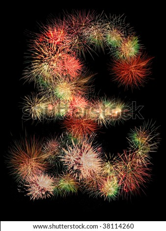 Pound sterling  symbol made of fireworks on black background - stock photo