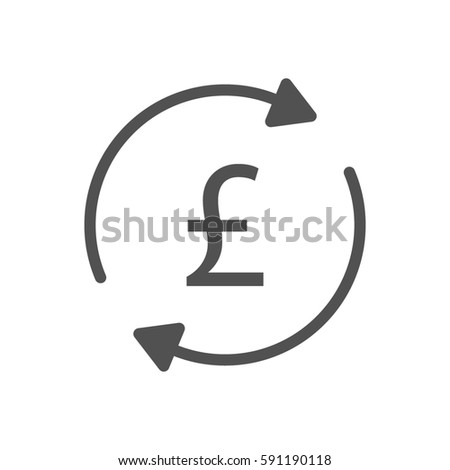 Pound Sterling Turnover Arrows Currency Icon Stock Illustration