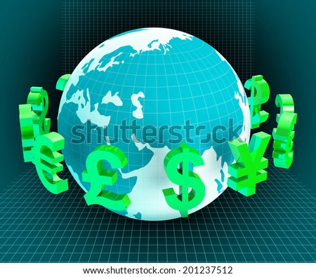 Pounds Globe Showing Worldwide Trading And Global - stock photo