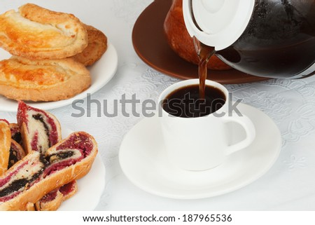 Pour coffee (table with desserts)