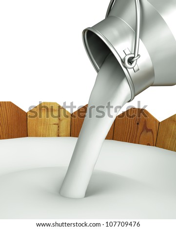 Pour the milk into the wooden container