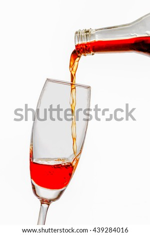 Pour the wine into a glass on white background