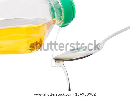 Pour vegetable oil into a spoon isolated on white