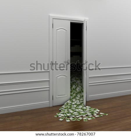 poured money out the door as a symbol of wealth - stock photo