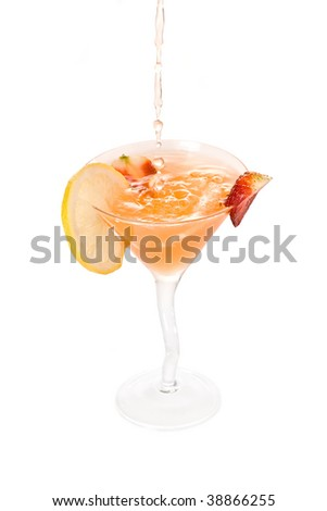 Pouring a cocktail on a white background - stock photo
