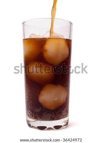Pouring a glass of ice cola against white background