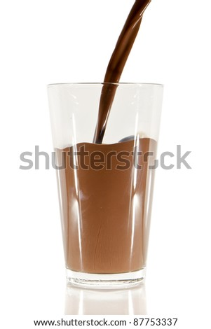 pouring chocolate milk into the glass isolated on white - stock photo