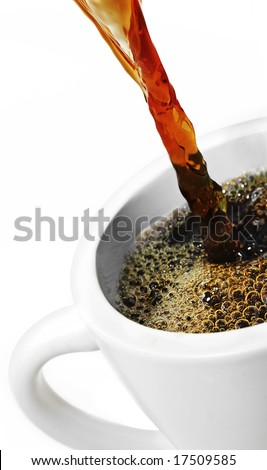 Pouring Coffee into a cup.
