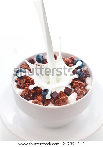 Pouring healthy fresh milk with a splash into a white ceramic bowl of chocolate cereal with blueberries and dark chocolate chips for a tasty nutritional breakfast - stock photo