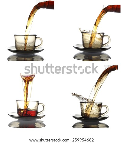 Pouring Healthy Tea collection in white  - stock photo