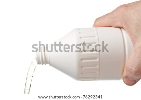 Pouring liquid soap out of a white plastic bottle isolated - stock photo